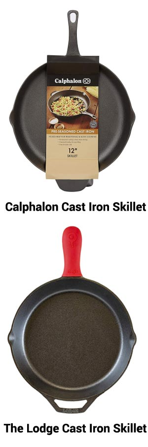 "Calphalon 12"" Cast Iron Skillet versus the Lodge 12"" Cast Iron Skillet"